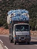 Truck full of used water bottles