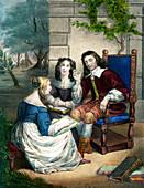 Milton reading 'Paradise Lost', 17th century
