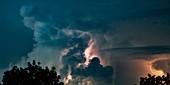 Lightning and cumulonimbus clouds, time-exposure image