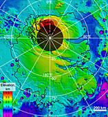 Mars southern polar region, MOLA surface image