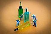 Illustration on alcoholism at work