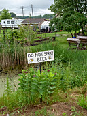 Do not spray bees sign, Michigan, USA