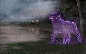 Black dog apparition, illustration