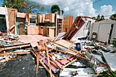 Mobile home damaged by Hurricane Charley, Florida, USA