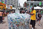 Plastic water bottle display, Miami, Florida, USA