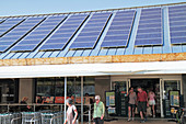Solar panels on supermarket roof, Florida, USA