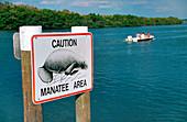 Caution Manatee Area sign, Florida, USA