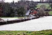 Flooded fields near Penshurst, Kent, UK