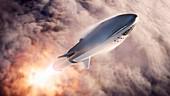 Big Falcon Rocket in flight, artwork