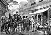 Yokohama street scene, Japan, 1860s