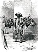 Poultry merchant in Java, 1860s