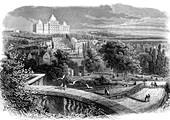 US Capitol and Washington DC park, 19th century