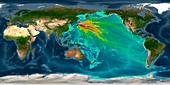 Tsunami from 2011 Japan earthquake, computer model