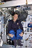 Astronaut Lisa M. Nowak in zero gravity, 2006