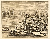 Morequito people slaying Spanish soldiers, 16th century