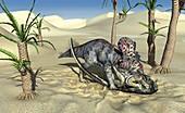 Velociraptor and Protoceratops in combat, illustration