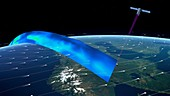 ADM-Aeolus satellite measuring Earth's winds, illustration