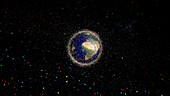 Space junk orbiting the Earth, illustration