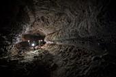 Astronaut training in volcanic lava tube