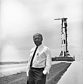 Von Braun at Apollo 11 launch site, 1969