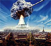 Meteorite exploding above Paris, France, illustration