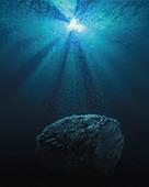 Meteorite at bottom of ocean, illustration
