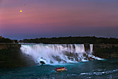 Moon above Niagara Falls after sunset