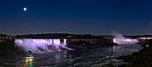 Moon above Niagara Falls at night