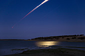 Total lunar eclipse and Mars, time-lapse image