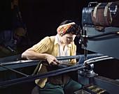 WWII, Female Riveting Machine Operator, 1942