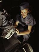 WWII, Female Mechanic, Naval Air Base, 1942