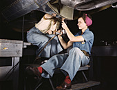 WWII, Women Workers, Airplane Factory, 1942