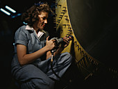 WWII, Female Riveter, Airplane Factory, 1942