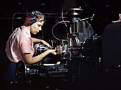 WWII, Female Machinist, Airplane Factory, 1942
