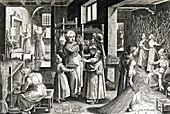 Cultivating Silkworms, Silk Making in Europe, 16th Century