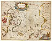 Joan Blaeu, Arctic Map, North Pole, 17th Century