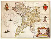 Joan Blaeu, Anglesey Island Map, 17th Century