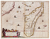 Joan Blaeu, Madagascar Map, 17th Century