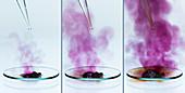 Aluminium reacts with iodine