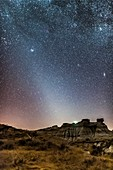 Evening Zodiacal Light at Dinosaur Park, Alberta, Canada