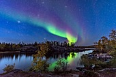 Aurora in Twilight at Tibbitt Lake, Canada