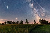 Night sky with Mars, Meteor, Milky Way and satellites