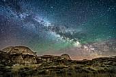 Milky Way Rising over Dinosaur Park, Alberta, Canada