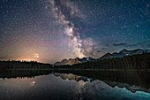 Mars and the Milky Way at Herbert Lake, Banff, Canada