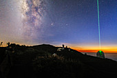 Milky Way and laser guide star at twilight