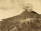 Erupting Volcano with Sightseers, c. 1870s