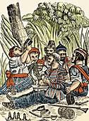 Bartholmew Roberts and Crew Drinking Rum, 18th Century