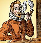 First Known Image of Man Smoking, 1595