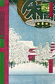Snow-Covered Walkway of Senso-ji Temple, 1856