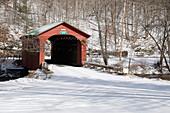 Arlington Covered Bridge in snow